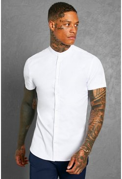 White Muscle Fit Grandad Collar Short Sleeve Shirt