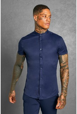 Navy Muscle Fit Grandad Collar Short Sleeve Shirt