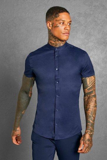Navy Muscle Fit Grandad Collar Short Sleeve Shirt