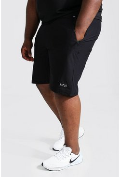Black Plus Size Man Active Shorts With Zip Pockets