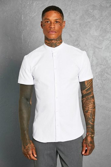 White Slim Fit Grandad Collar Short Sleeve Shirt