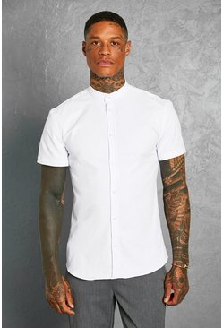 White Slim Fit Grandad Collar Short Sleeve Shirt