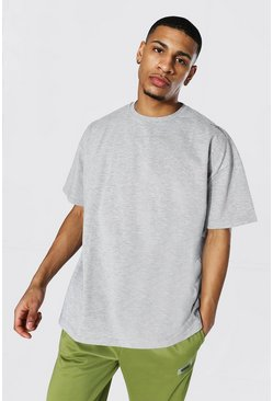 Grey marl grey Oversized Man Signature Heavyweight T-shirt