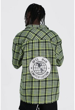 Neon-green neon Oversized Official Man Back Print Flannel Shirt