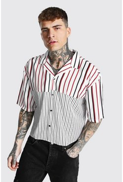Red Boxy Fit Revere Stripe Shirt