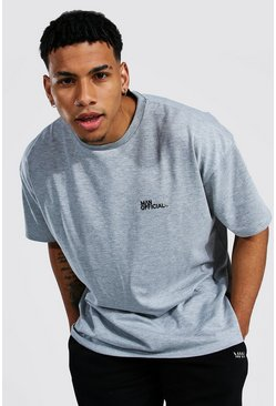 Grey marl grey Oversized Man Official Heavyweight T-shirt