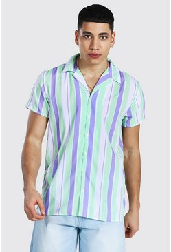 Short Sleeve Revere Stripe Shirt, Lilac viola