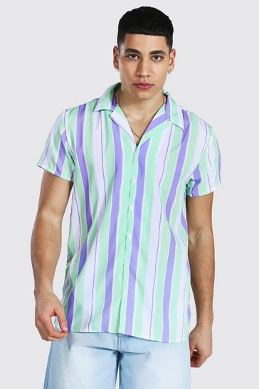 Lilac purple Short Sleeve Revere Stripe Shirt