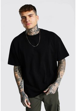 Black Oversized Extended Neck Heavyweight T-shirt
