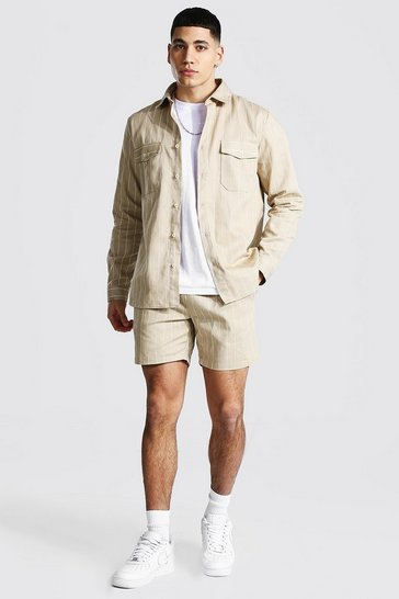 Taupe beige Long Sleeve Twill Stripe Overshirt And Short