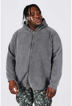 Charcoal grey Plus Size Heavyweight Washed Raglan Zip Hood