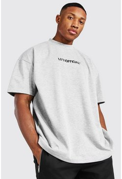Grey marl grey Oversized Man Extended Neck Heavyweight Tee