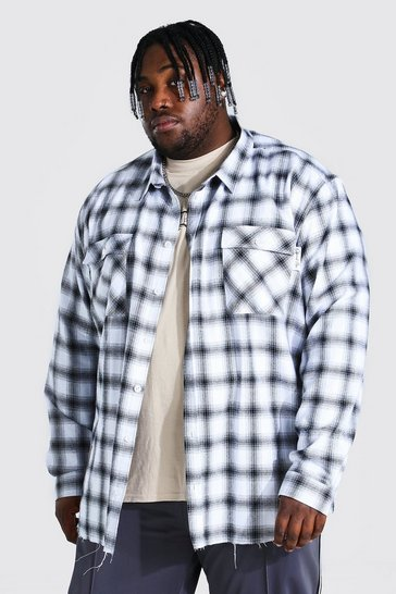 Ecru white Plus Size Back Print Check Shirt