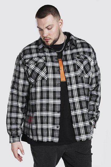 Black Plus Size Back Print Check Shirt