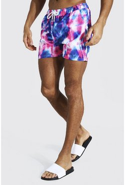 Pink Tie Dye Short Length Swim Short