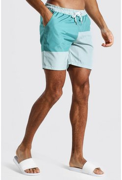 Sage green Colourblock Mid Length Swim Short