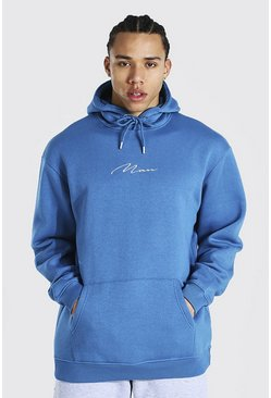 Blue Tall Oversized Man Signature Hoodie