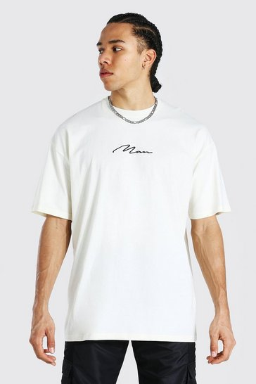 Ecru white Tall Man Signature Oversized T-shirt