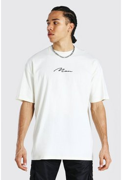 Ecru white Tall Man Signature Oversized T-shirt