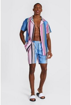 Powder blue blue Short Sleeve Revere Stripe Shirt And Swim