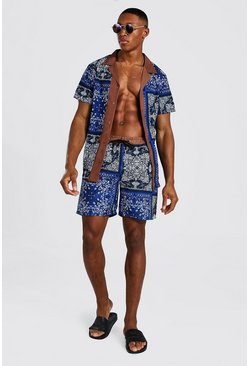 Cobalt blue Short Sleeve Revere Border Shirt And Swim