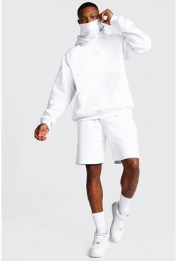 White Man Snood Hooded Short Tracksuit