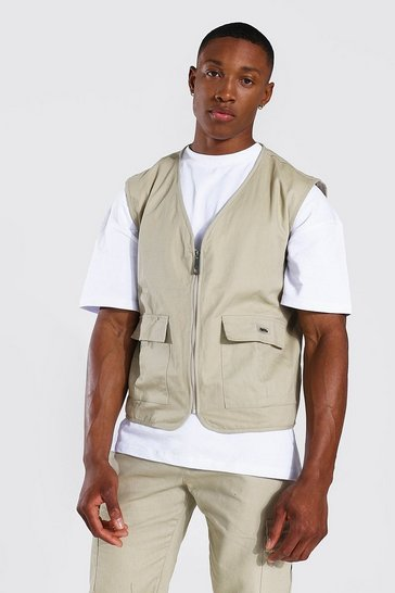 Stone beige Cotton Twill Utility Vest