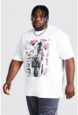 White Plus Size Floral Tupac License T-shirt