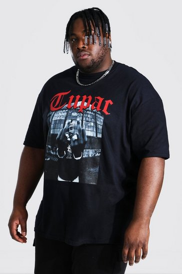 Black Plus Size Tupac Middle Finger License T-shirt