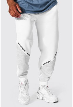 Regular Man Official Colour Block Jogger, White bianco