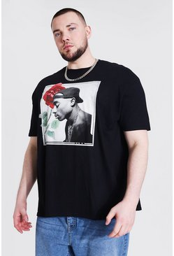 Black Plus Size Rose Tupac License T-shirt