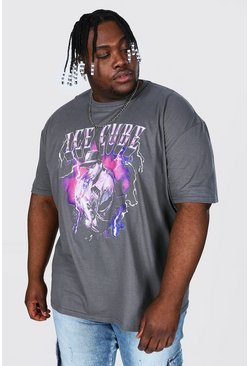 Charcoal grey Plus Size Ice Cube Lightening License T-shirt