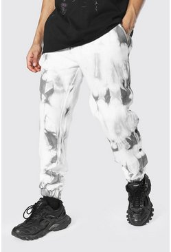 Grey Regular Popper Tie Dye Joggers