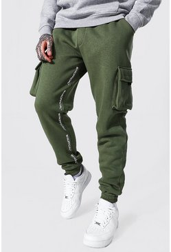 Regular Man Official Cargo Print Joggers, Khaki kaki
