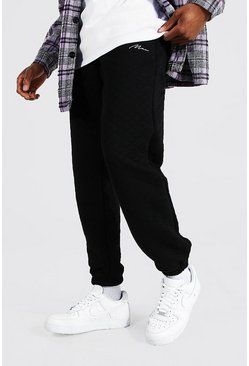 Black Regular Man Signature Quilted Joggers