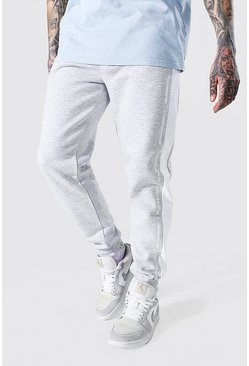 Grey marl grå MAN Official Joggers i regular fit med sidopaneler