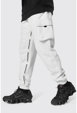 Regular Man Official Cargo Print Joggers, Ecru bianco