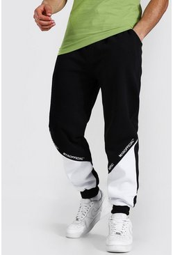 Regular Man Official Colour Block Jogger, Black nero