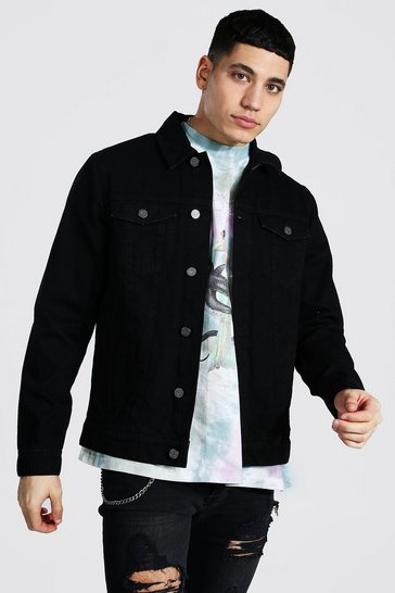 Washed black Regular Fit Denim Jacket