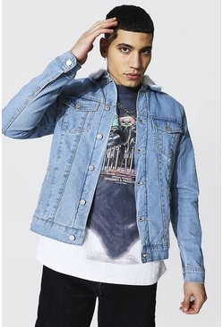Light blue blue Regular Fit Borg Lined Denim Jacket