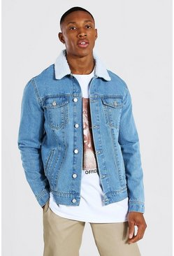 Light blue blue Regular Fit Borg Collar Denim Jacket