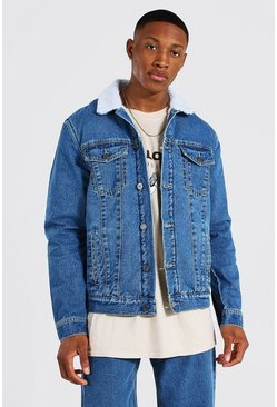 Regular Fit Borg Lined Denim Jacket , Mid blue Синий