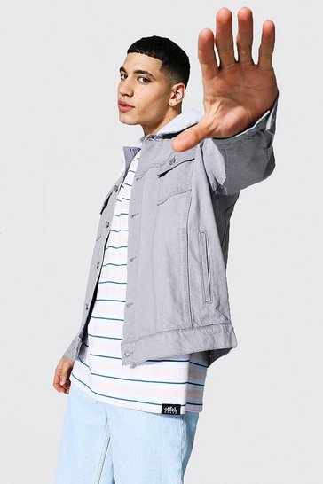 Grey Oversized Borg Collar Denim Jacket