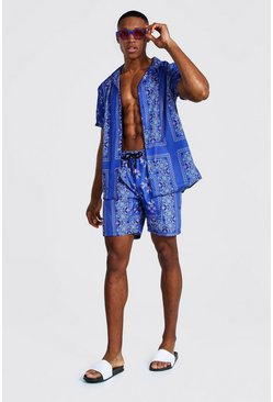 Cornflower blue blue Short Sleeve Revere Tile Shirt And Swim