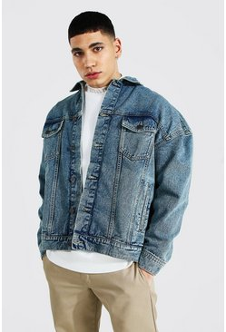 Vintage blue blue Boxy Fit Denim Jacket