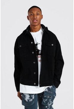 Washed black Oversized Hooded Denim Jacket