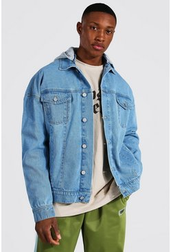Light blue blue Oversized Hooded Denim Jacket