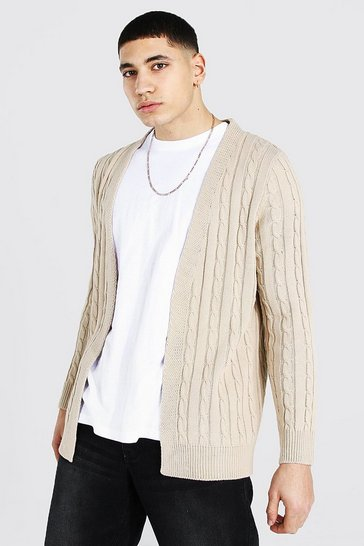 Stone beige Cable Edge To Edge Knitted Cardigan