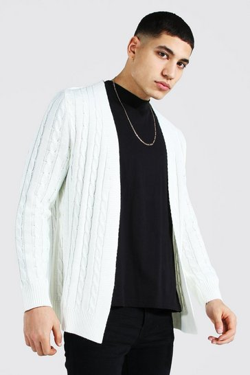 Cream white Cable Edge To Edge Knitted Cardigan