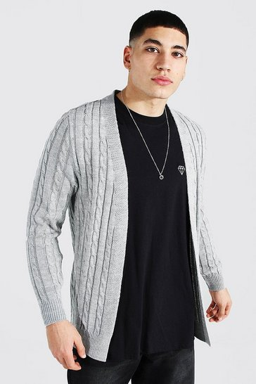 Grey marl grey Cable Edge To Edge Knitted Cardigan